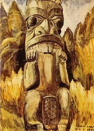 Queen Charlotte  Islands Totem 1928 - Emily Carr reproduction oil painting