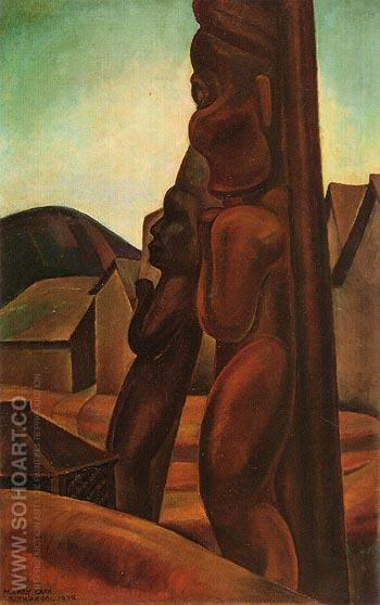 Kitwancool Totems 1928 - Emily Carr reproduction oil painting