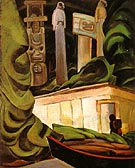 Indian Hut Queen Charlotte Islands 1930 - Emily Carr reproduction oil painting