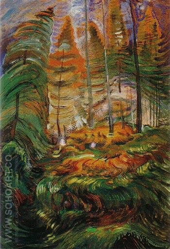 Sketch relating to A Rushing Sea of Undergrowth 1935 - Emily Carr reproduction oil painting