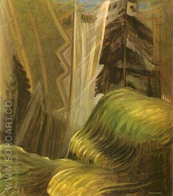 Forest Interior in shafts of Light 1935 - Emily Carr reproduction oil painting