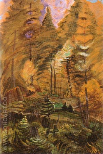 Young and Old Forest B C Sketch relating to Something Unnamed 1936 - Emily Carr reproduction oil painting
