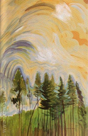 Young Pines and Sky 1935 - Emily Carr reproduction oil painting
