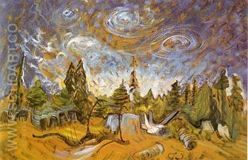 Stumps and Sky 1934 - Emily Carr reproduction oil painting