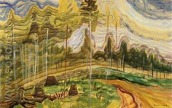 Langford B C sketch relating to Plumed Firs 1939 - Emily Carr reproduction oil painting