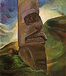 A Skidegate Pole 1941 - Emily Carr reproduction oil painting