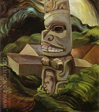 A Skidegate Beaver Pole 1941 - Emily Carr reproduction oil painting