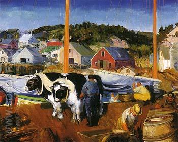 Ox Team Matinicus Island Maine 1916 - George Bellows reproduction oil painting