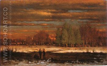 Winter Evening Medfield 1860 - George Inness reproduction oil painting