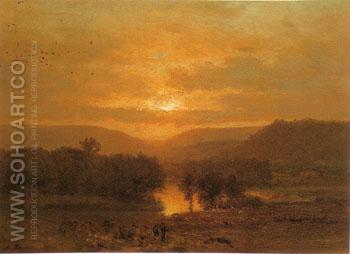 Sunset 1860 - George Inness reproduction oil painting