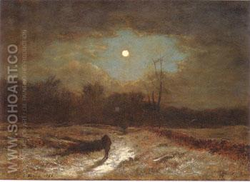Christmas Eve Winter Moonlight 1866 - George Inness reproduction oil painting