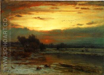 Winter Close of Day A Winter Sky 1866 - George Inness reproduction oil painting