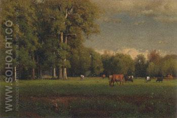 Landscape with Cattle 1877 - George Inness reproduction oil painting
