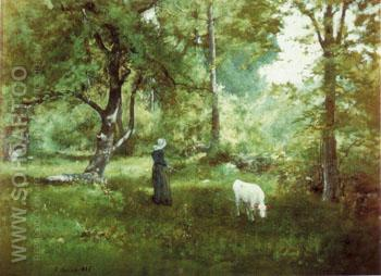 Woman With Calf 1886 - George Inness reproduction oil painting