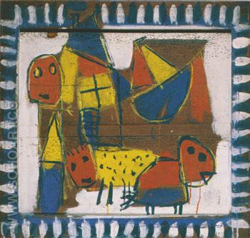 Figures Animals and Little Boat 1948 - Karel Appel reproduction oil painting