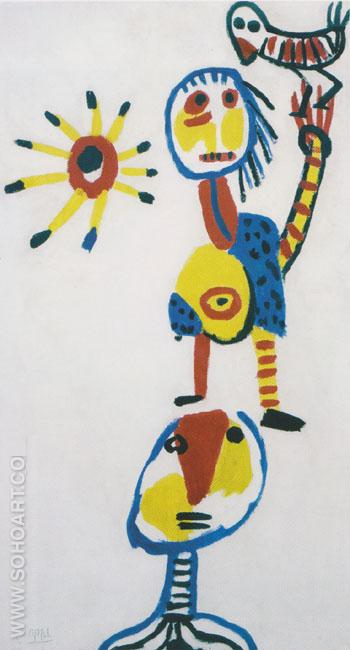 Children Playing 1950 - Karel Appel reproduction oil painting