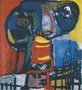 Figure above Village 1953 - Karel Appel reproduction oil painting