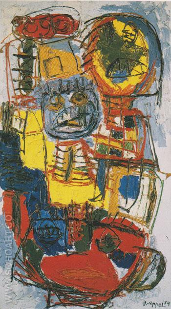 Tragic Carnival 1954 - Karel Appel reproduction oil painting