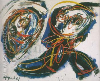 Mild Nude with Lattesed Eyes 1961 - Karel Appel reproduction oil painting