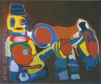Boy with Donkey 1968 - Karel Appel reproduction oil painting
