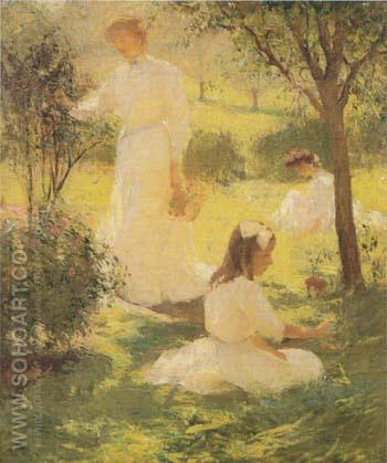 Girls in the Garden  1906 - Frank Weston Benson reproduction oil painting
