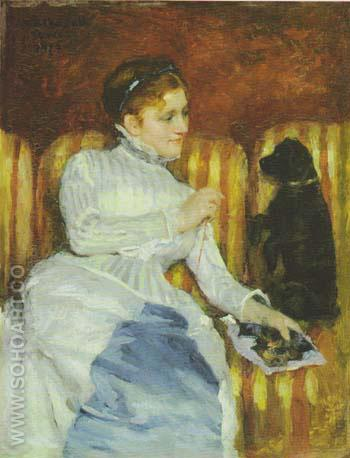 Woman on a Striped Sofa with a Dog 1875 - Mary Cassatt reproduction oil painting