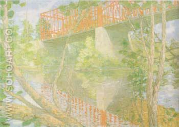 The Red Bridge 1895 - Julian Alden Weir reproduction oil painting