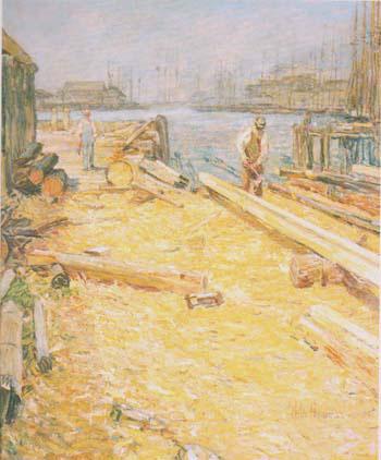The Sparyard Inner Harbor Gloucester 1895 - Childe Hassam reproduction oil painting