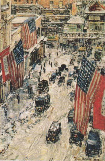 Flags on 57th Street Winter 1918 - Childe Hassam reproduction oil painting