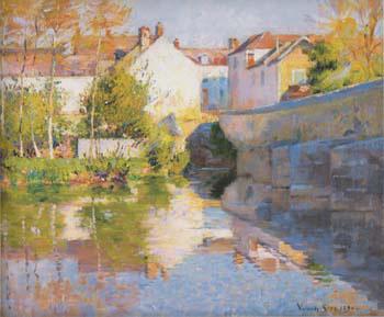 Beside the River Grez 1890 - Robert Vonnoh reproduction oil painting