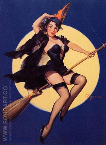 Witch on a Broomstick Riding High - Pin Ups reproduction oil painting