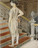 Hilde on the Stairs c 1926 - Karl Hubbuch reproduction oil painting