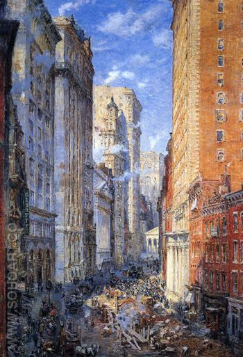 Broad Street Canon New York c 1904 - Colin Campbell Cooper reproduction oil painting