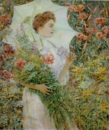 The White Parasol 1907 - Robert Reid reproduction oil painting