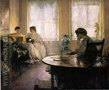 Girls Reading 1907 - Edmund Tarbell reproduction oil painting