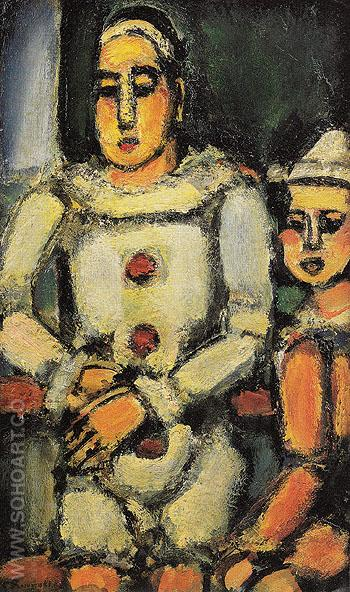 Two Clowns c1935 - George Rouault reproduction oil painting