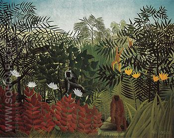 Tropical Forest with Monkeys 1910 - Henri Rousseau reproduction oil painting