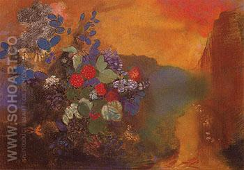 Ophelia Among the Flowers 1947 - Odilon Redon reproduction oil painting
