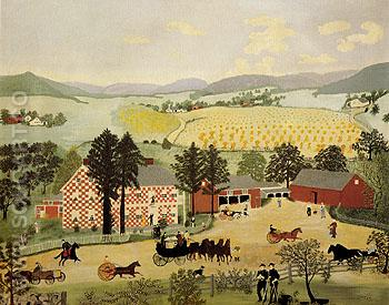 Checkered House 1943 - Grandma Moses reproduction oil painting