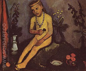 Woman with Flowers 1907 - Paula Modersohn-Becker reproduction oil painting