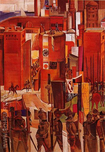 The Surrender of Barcelona c1934 - Percy Wyndham Lewis reproduction oil painting