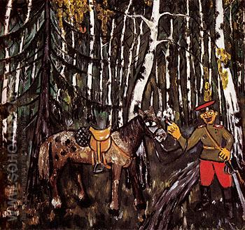Soldier in a Wood The Smoker 1911 - Mikhail Larionov reproduction oil painting