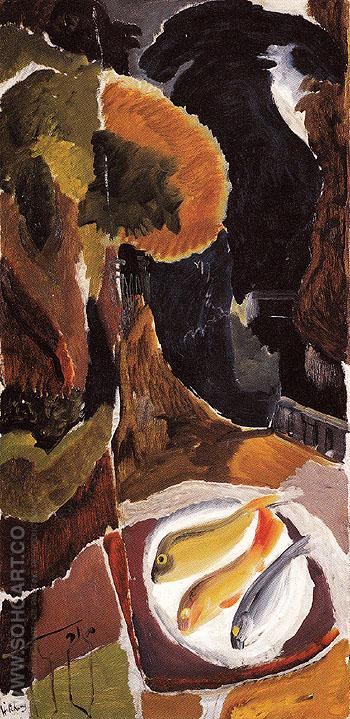 Balcony with Fish 1943 - Ivon Hitchens reproduction oil painting