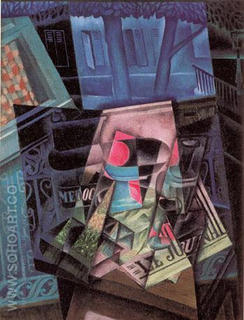 Still Life before an Open Window The Place Ravignon 1915 - Juan Gris reproduction oil painting