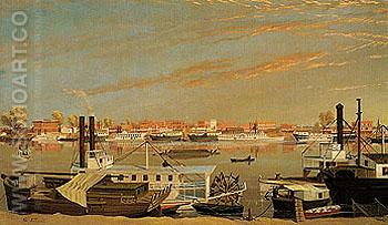 View of Sacramento California from Across the Sacramento River c1855 - George Tirrell reproduction oil painting