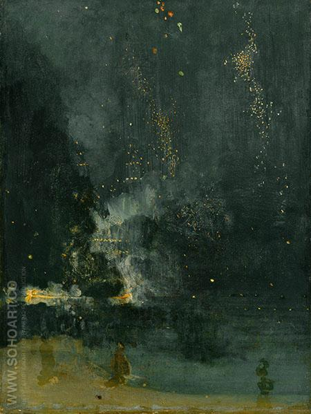 Nocturne in Black and Gold The Falling Rocket c1875 - James McNeill Whistler reproduction oil painting