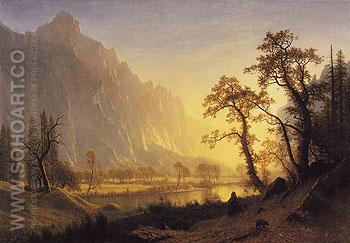 Sunrise Yosemite Valley c1870 - Albert Bierstadt reproduction oil painting