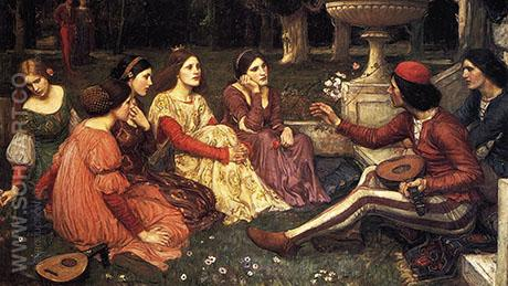 A Tale from the Decameron 1916 - John William Waterhouse reproduction oil painting