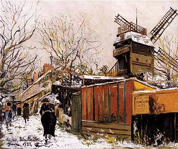 The Moulin de la Galette in Snow 1923 - Maurice Utrillo reproduction oil painting
