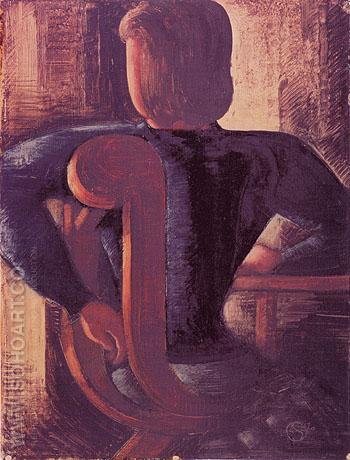 Rear View of a Woman Sitting at the Table 1936 - Oskar Schlemmer reproduction oil painting
